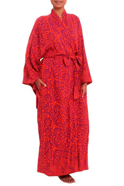 Rayon robe, 'Tangelo and Plum' - Handmade Orange and Purple Stamp Dyed Rayon Robe from Bali