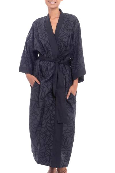 Cotton robe, 'Night Bamboo' - Bamboo Motif Cotton Robe in Grey from Bali