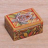 Wood mini jewelry box, 'Serangan Turtle'