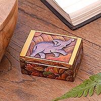 Wood mini jewelry box, 'Sumatran Elephant'