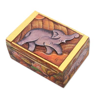 Wood mini jewelry box, 'Sumatran Elephant' - Elephant-Themed Wood Mini Jewelry Box from Bali