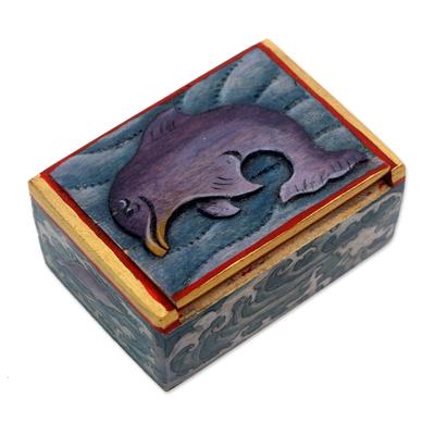 Wood mini jewelry box, 'Lovina Dolphin' - Dolphin-Themed Wood Mini Jewelry Box from Bali