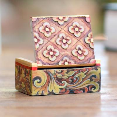 Wood mini jewelry box, 'Floral Array' - Handcrafted Mini Jewelry Box with Floral Motif