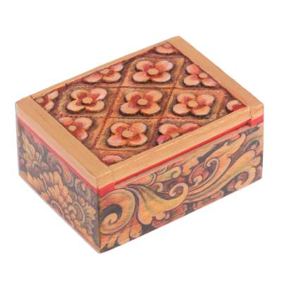 Handcrafted Mini Jewelry Box With Floral Motif Floral Array Novica