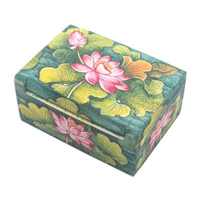 Wood mini jewelry box, 'Lily Pond' - Handcrafted Mini Jewelry Box with Floral Motif