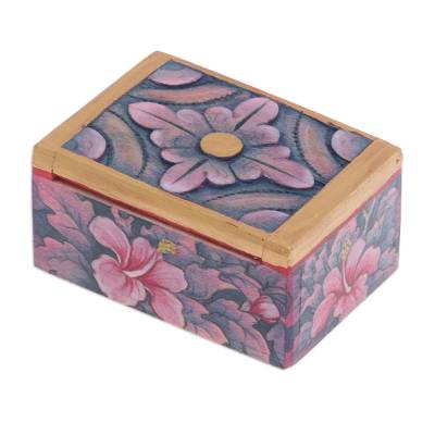 Hand Painted Mini Jewelry Box with Floral Motifs Floral Delicacy
