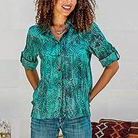 Batik rayon hi-low blouse, 'Green Glyphs' - Rayon Batik Long Sleeve Green-Blue Hi-Low Button Blouse