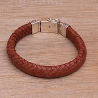 Leather wristband bracelet, 'Tranquil Weave in Orange' - Balinese Sterling Silver and Leather Wristband Bracelet