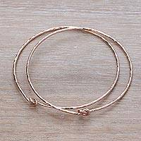 Rose gold plated sterling silver bangle bracelets, 'Knotted Gold' (pair)