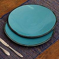Ceramic plates, 'Sky Blue Ellipses' (pair) - Elliptical Ceramic Plates in Sky Blue from Bali (Pair)