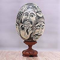 Wood sculpture, 'Balinese Drama' - Hand Painted Black and Ivory Drama Masks Wood Egg Sculpture
