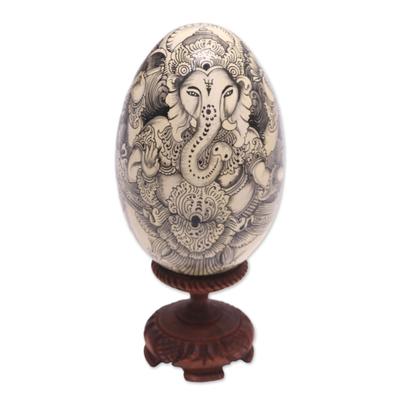 Black on Cream Buddha and Ganesha Wood Egg Statuette