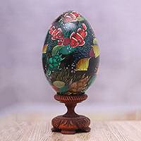 Wood egg figurine, 'In the Reef' - Hand-Painted Colorful Fish on Black Wood Egg Figurine