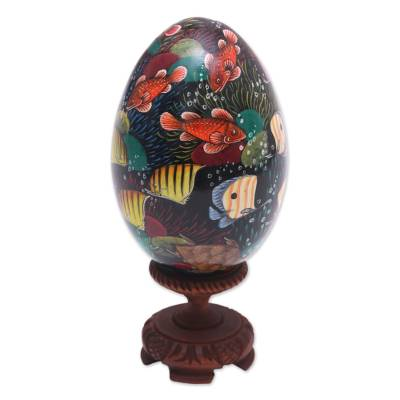 Hand-Painted Colorful Fish on Black Wood Egg Statuette