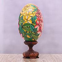 Wood statuette, 'Jepun Blooms' (15 cm) - Yellow and Pink Frangipani Flower Wood Egg Statuette (15 cm)
