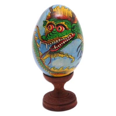 Hand-Painted Green and Yellow Dragon Wood Egg Statuette
