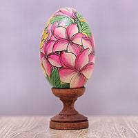 Wood statuette, 'Jepun Blooms' (9 cm) - Yellow and Pink Frangipani Flower Wood Egg Statuette (9 cm)
