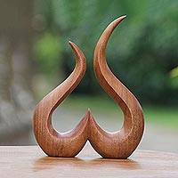 Wood sculpture, 'Growing Heart' - Hand-Carved Suar Wood Abstract Growing Heart Sculpture