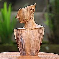 Wood sculpture, 'I'm Listening' - Hand-Carved Fine Art Suar Wood Sculpture from Bali