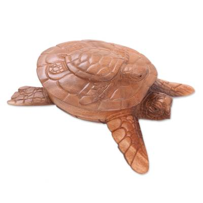 Hand Carved Turtle Shaped Decorative Suar Wood Box from Bali