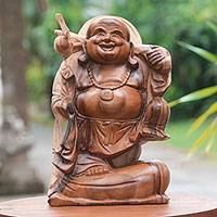 Wood sculpture, 'Traveling Buddha'