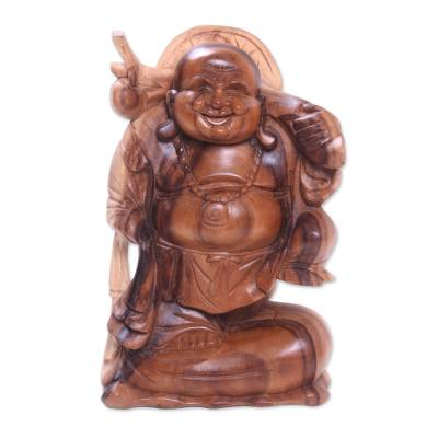Wood sculpture, 'Traveling Buddha' - Hand-Carved Suar Wood Sculpture of Buddha from Bali