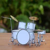 Wood miniature drum set, 'Pure Rhythm' - Wood Miniature Drum Set in White from Java