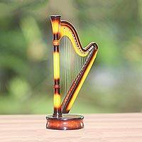 Decorative miniature harp, 'Angel's Music' - Handcrafted Decorative Mahogany Miniature Harp Figurine