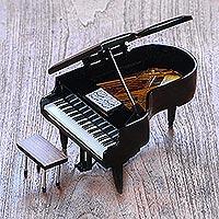 Decorative miniature piano, 'Baby Grand' - Handcrafted Decorative Mahogany Mini Grand Piano Figurine