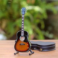 Wood miniature guitar, 'Acoustic Bliss' - Handmade Mahogany Wood Miniature Guitar from Java
