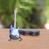 Wood decorative miniature guitar, 'Electric Guitar' - Mahogany Decorative Miniature Electric Guitar Figurine