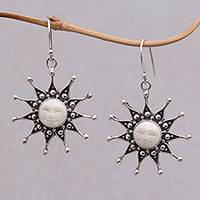 Sterling silver dangle earrings, 'Gleaming Sunshine' - Sterling Silver and Bone Sun Earrings from Java