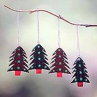 Mahogany wood ornaments, 'Starlit Tree' (set of 4) - Mahogany Wood Hand Painted Tree Ornaments (Set of 4)