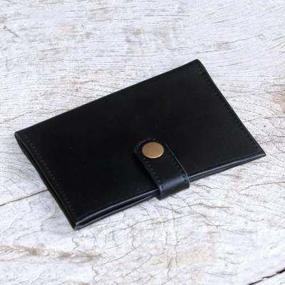Leather passport wallet, 'Gringsing Getaway in Black' - Fair Trade Handcrafted Black Leather Passport Holder