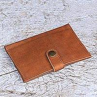 Leather passport wallet, 'Gringsing Getaway in Brown' - Handcrafted Brown Leather Passport Wallet from Bali