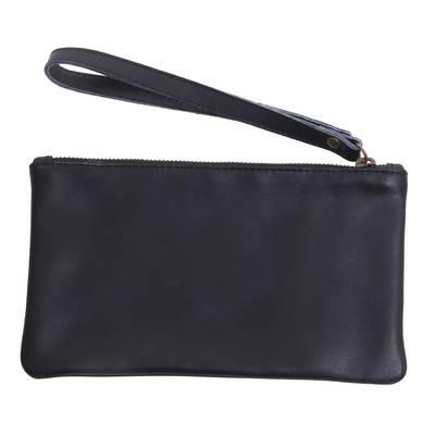 Black Leather Wristlet with Cepuk Interior and Pocket