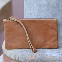 Leather wristlet, 'Cepuk Secret in Brown' - Brown Leather Wristlet with Cepuk Interior with Pocket