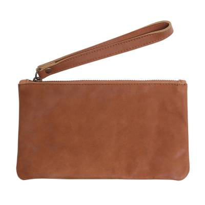 Brown Leather Wristlet with Cepuk Interior with Pocket