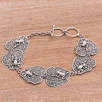 Sterling silver link bracelet, 'Lily Pad Frogs' - Sterling Silver Link Bracelet with Frogs