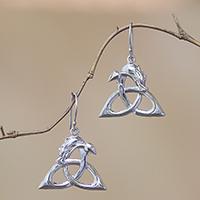 Sterling silver dangle earrings, 'Dragon Knot'