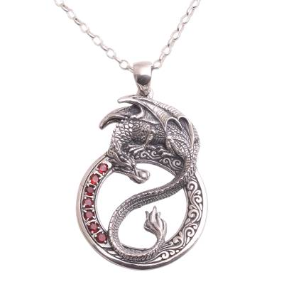 Men's garnet pendant necklace, 'Dragon Flare' - Men's Garnet Dragon Necklace from Bali