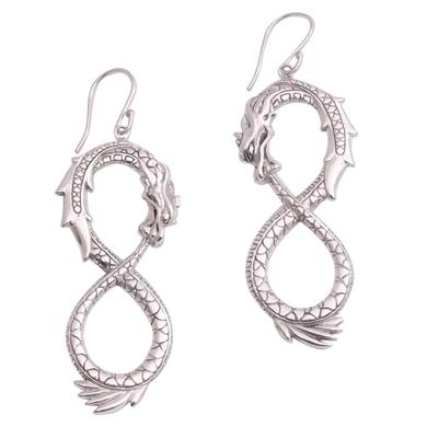 Sterling silver dangle earrings, 'Infinite Dragon' - Artisan Crafted Sterling Silver Dragon Dangle Earrings