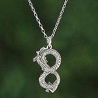 Sterling silver pendant necklace, 'Infinity Dragon'