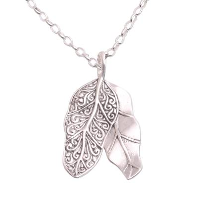 Sterling silver pendant necklace, 'Banana Canopy' - Sterling Silver Banana Leaf Pendant Necklace from Bali