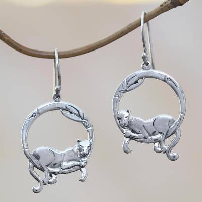 Sterling silver dangle earrings, Lounging Panther