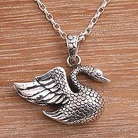 Sterling silver pendant necklace, 'Swan Lake' - Sterling Silver Swan Pendant Necklace from Bali