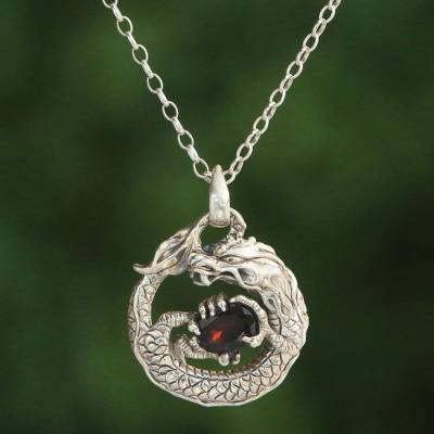 390d2334b0d180 Garnet pendant necklace, 'Dragon's Gem' - Garnet and Sterling Silver Unisex  Dragon Pendant
