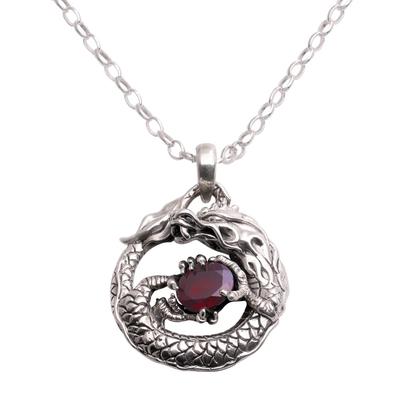 Garnet pendant necklace, 'Dragon's Gem' - Garnet and Sterling Silver Unisex Dragon Pendant Necklace