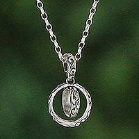 Sterling silver pendant necklace, 'One Soul' - Sterling Silver Ring Pendant Necklace from Bali