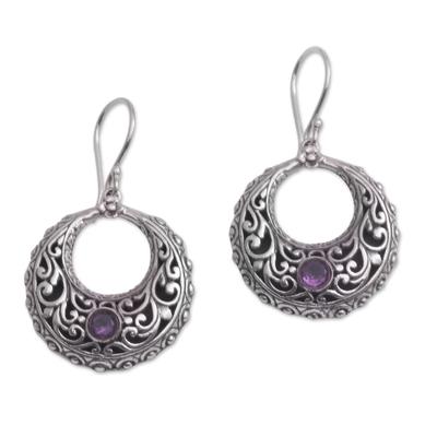 Amethyst dangle earrings, 'Violet Swirls' - Amethyst and Sterling Silver Dangle Earrings from Indonesia